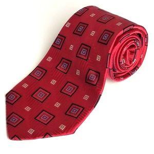 Cremieux  Red Navy Handmade Woven 100%  Silk Tie
